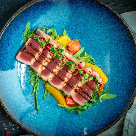 Atún sellado con salsa teriyaki
